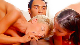 Two splendid babes bring their heads to a big yummy prick