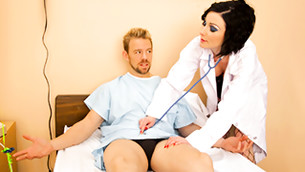 Beautiful fancy female doctor always take a good care of her cute patients