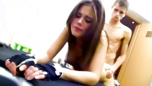 Aroused guy taking advantage of this virgin teen age girl hard