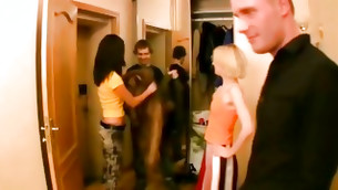 Pair of couples united with a idea of spanking jointly gathered in one bedroom besides started