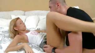 Terrific bro is inserting his hands under babe shirt to her boobs