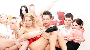 Strong horny college dudes are holding their chicks in skilful arms