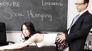 Teacher in suit is staying behind this dreamy skank as if fuck her ass