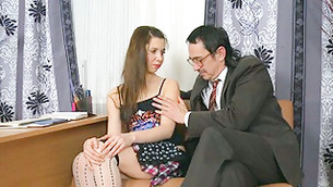 Lewd and sludgy teacher is touching the thin hand of this hot coed