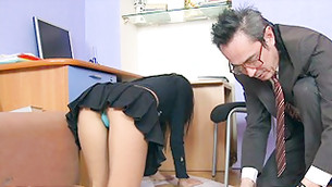 Mature fellow and bitchy lass with visible booty cheeks are picks papers