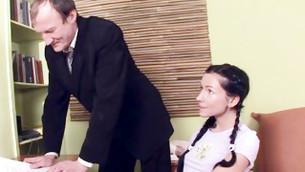 Nervous dribblet looking at her outrageous rigid mature teacher