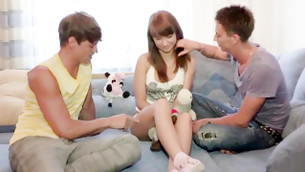 Two aggrieved immature bros wait for a deep penetration in this hottie