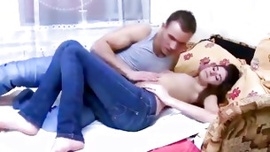 Long haired honey is immersing this weighty sturdy cock deep throat disgustfully